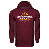 Under Armour Maroon Performance Sweats Team Hoodie-Armstrong State Volleyball Stacked w/ Ball