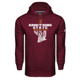 Under Armour Maroon Performance Sweats Team Hoodie-Armstrong State Basketball w/ Net
