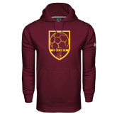 Under Armour Maroon Performance Sweats Team Hoodie-Soccer Shield w/ Pirate Head
