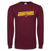 Maroon Long Sleeve T Shirt-Slanted Armstrong w/ Pirate