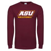 Maroon Long Sleeve T Shirt-Volleyball