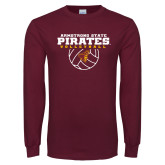 Maroon Long Sleeve T Shirt-Armstrong State Pirates Volleyball w/ Ball