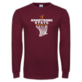 Maroon Long Sleeve T Shirt-Armstrong State Basketball w/ Net