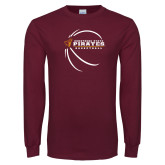 Maroon Long Sleeve T Shirt-Armstrong State Basketball w/ Countour Lines