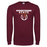 Maroon Long Sleeve T Shirt-Armstrong State Baseball w/ Ball