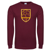 Maroon Long Sleeve T Shirt-Soccer Shield w/ Pirate Head