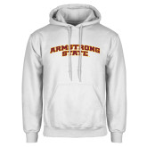 White Fleece Hoodie-Arched Armstrong State