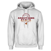 White Fleece Hoodie-Armstrong State Volleyball Stacked w/ Ball