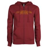 ENZA Ladies Maroon Fleece Full Zip Hoodie-Arched Armstrong State