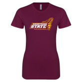 Next Level Ladies SoftStyle Junior Fitted Maroon Tee-Official Logo