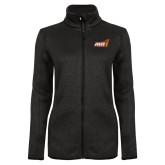 Black Heather Ladies Fleece Jacket-Official Logo