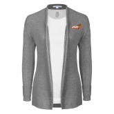 Ladies Heather Grey Open Front Cardigan-Official Logo