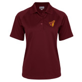 Ladies Maroon Textured Saddle Shoulder Polo-Pirate Head