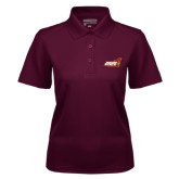 Ladies Maroon Dry Mesh Polo-Official Logo