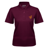 Ladies Maroon Dry Mesh Polo-Pirate Head