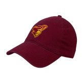 Maroon Twill Unstructured Low Profile Hat-Pirate Head