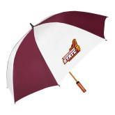 62 Inch Maroon/White Umbrella-Official Logo