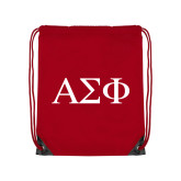 Red Drawstring Backpack-Greek Letters