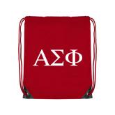 Red Drawstring Backpack-Greek Letters
