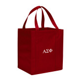 Non Woven Red Grocery Tote-Greek Letters