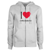 ENZA Ladies White Fleece Full Zip Hoodie-I Heart Alpha Sigma Phi