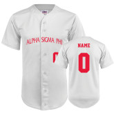 Replica White Adult Baseball Jersey-Personalized Arched Alpha Sigma Phi