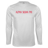 Performance White Longsleeve Shirt-Alpha Sigma Phi Flat
