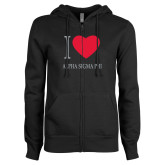 ENZA Ladies Black Fleece Full Zip Hoodie-I Heart Alpha Sigma Phi