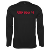 Performance Black Longsleeve Shirt-Alpha Sigma Phi Flat