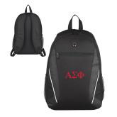 Atlas Black Computer Backpack-Greek Letters