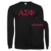 Black Long Sleeve TShirt-Greek Letters