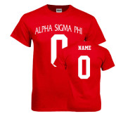 Red T Shirt-Alpha Sigma Phi Arch, Personalized w/ Name and Number