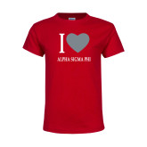 Youth Red T Shirt-I Heart Alpha Sigma Phi