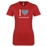Next Level Ladies SoftStyle Junior Fitted Red Tee-I Heart Alpha Sigma Phi