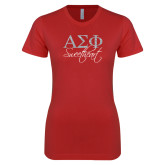 Next Level Ladies SoftStyle Junior Fitted Red Tee-Greek Letters Script Fill Sweetheart