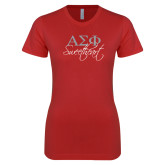 Next Level Ladies SoftStyle Junior Fitted Red Tee-Greek Letters Sweetheart