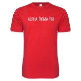 Next Level SoftStyle Red T Shirt-Alpha Sigma Phi Flat