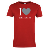 Ladies Red T Shirt-I Heart Alpha Sigma Phi
