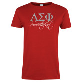 Ladies Red T Shirt-Greek Letters Script Fill Sweetheart