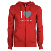 ENZA Ladies Red Fleece Full Zip Hoodie-I Heart Alpha Sigma Phi