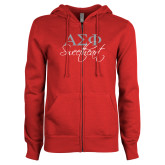ENZA Ladies Red Fleece Full Zip Hoodie-Greek Letters Sweetheart