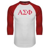 White/Red Raglan Baseball T-Shirt-Greek Letters