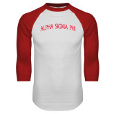 White/Red Raglan Baseball T-Shirt-Alpha Sigma Phi Arch
