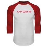 White/Red Raglan Baseball T-Shirt-Alpha Sigma Phi Flat