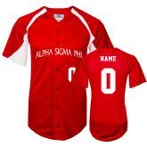 Replica Red Adult Baseball Jersey-Personalized Arched Alpha Sigma Phi