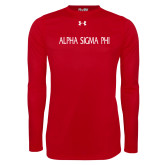 Under Armour Red Long Sleeve Tech Tee-Alpha Sigma Phi Flat