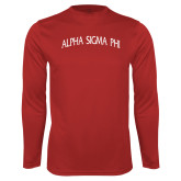 Performance Red Longsleeve Shirt-Alpha Sigma Phi Arch