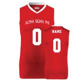 Replica Red Adult Basketball Jersey-Personalized Arched Alpha Sigma Phi