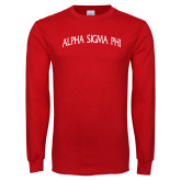 Red Long Sleeve T Shirt-Alpha Sigma Phi Arch