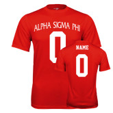 Performance Red Tee-Alpha Sigma Phi Arch, Personalized w/ Name and Number